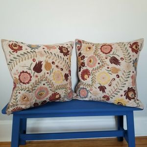 Pottery Barn Knowles Embroidered Pillow Covers